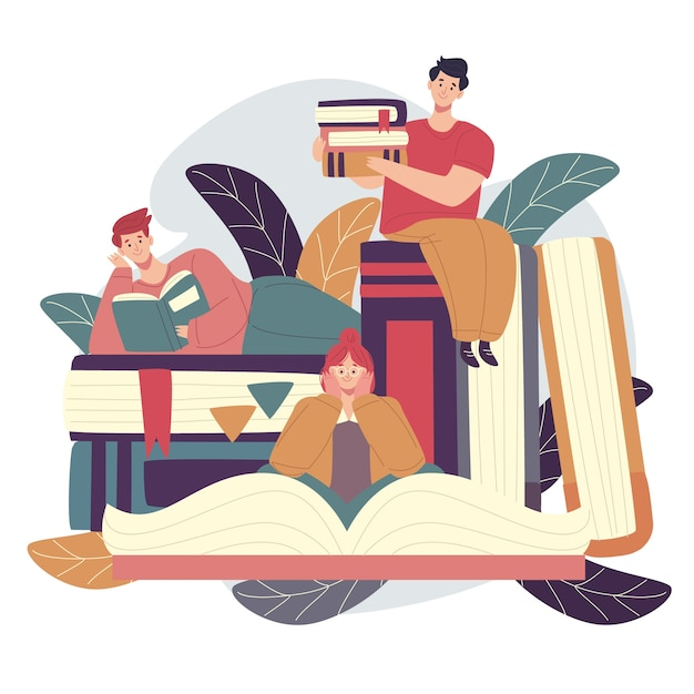 Płaska Konstrukcja światowy Dzień Książki Koncepcja Darmowych Wektorów