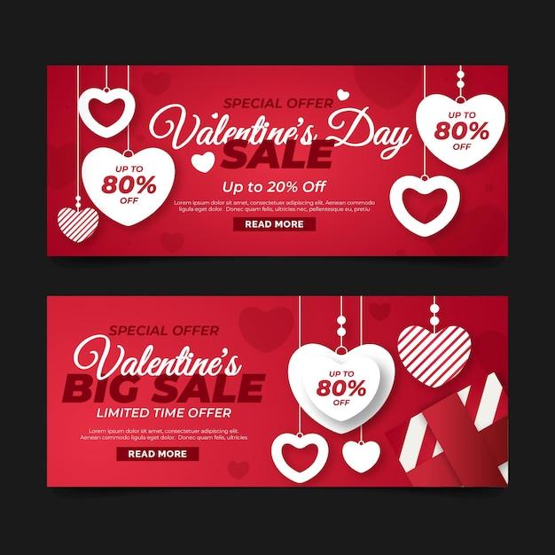 Płaska Konstrukcja Szablon Banerów Sprzedaż Walentynki Darmowych Wektorów