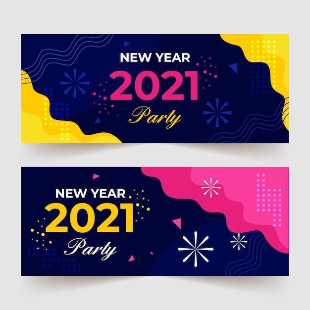 Płaska Konstrukcja Szablon Banery Party Nowy Rok 2021 Darmowych Wektorów