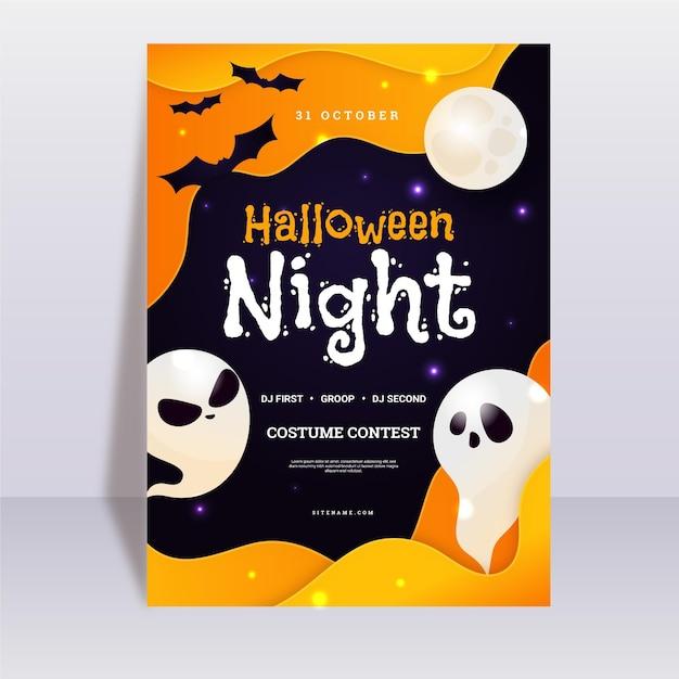 Płaska Konstrukcja Szablon Plakatu Halloween Party Z Duchami Darmowych Wektorów