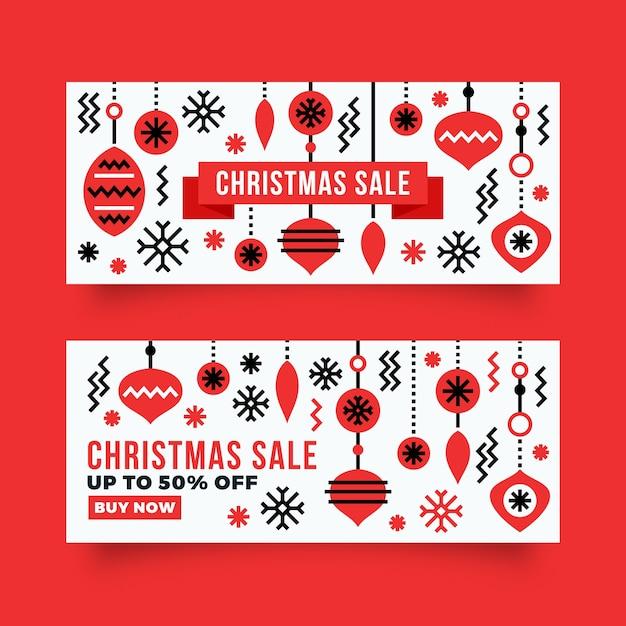 Płaska Konstrukcja Szablon Sprzedaż Banery Boże Narodzenie Darmowych Wektorów