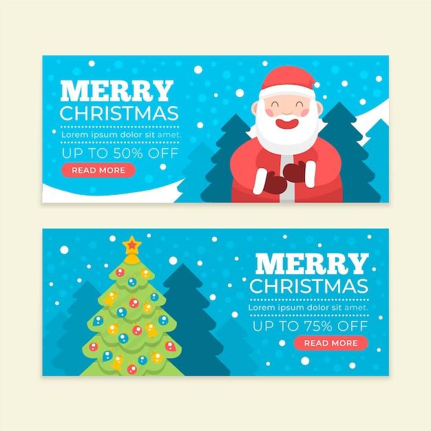 Płaska konstrukcja szablon sprzedaż banery świąteczne Darmowych Wektorów