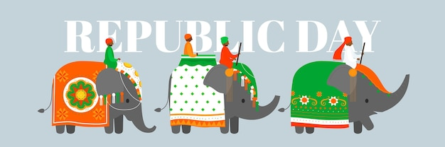 Płaska Konstrukcja Szablon Transparent Dzień Republiki Indyjskiej Darmowych Wektorów