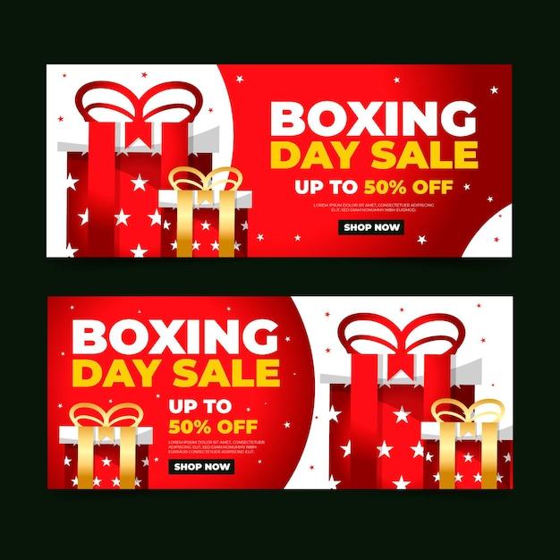 Płaska Konstrukcja Szablonu Banerów Sprzedaży Boxing Day Darmowych Wektorów