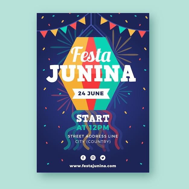 Płaska Konstrukcja Szablonu Festa Junina Plakat Darmowych Wektorów