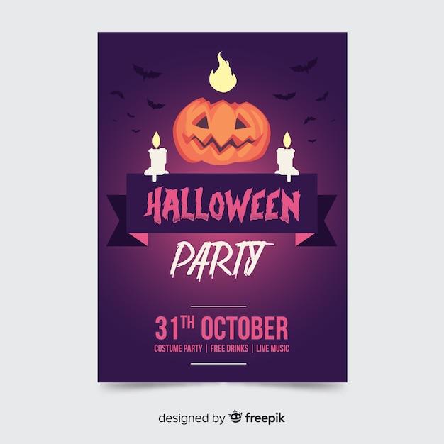 Płaska Konstrukcja Szablonu Halloween Party Plakat Dyni Darmowych Wektorów