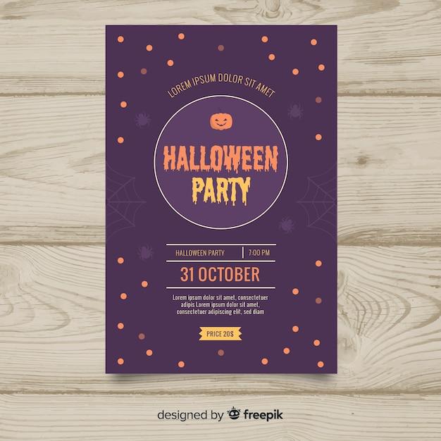 Płaska Konstrukcja Szablonu Halloween Party Plakat Darmowych Wektorów
