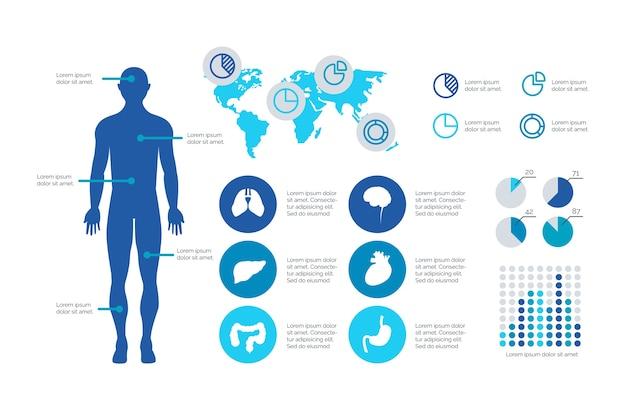 Płaska konstrukcja szablonu infographic medyczne Darmowych Wektorów