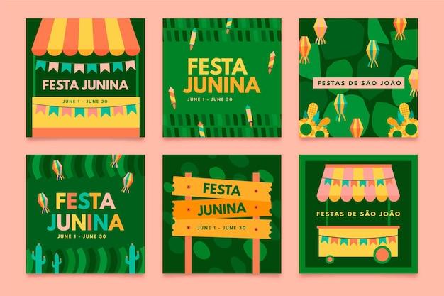 Płaska Konstrukcja Szablonu Kolekcji Karty Festa Junina Darmowych Wektorów