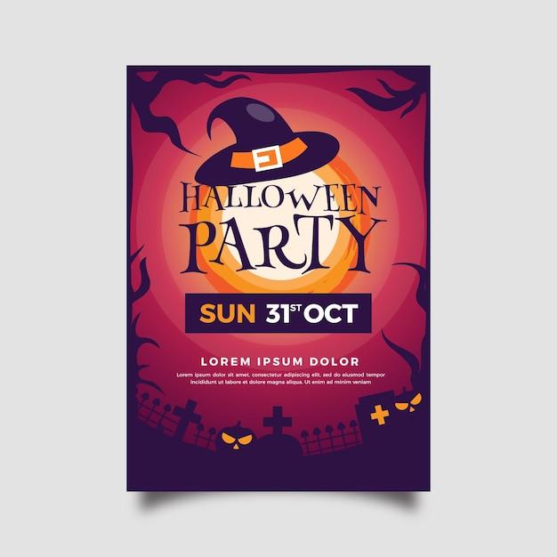 Płaska Konstrukcja Szablonu Plakatu Halloween Party Darmowych Wektorów