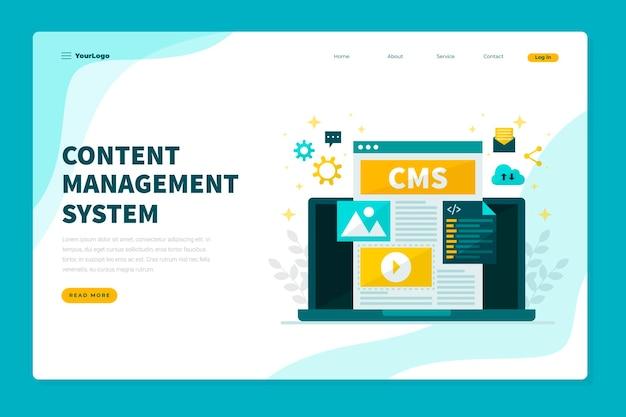 Płaska Konstrukcja Szablonu Sieci Web Koncepcji Cms Premium Wektorów