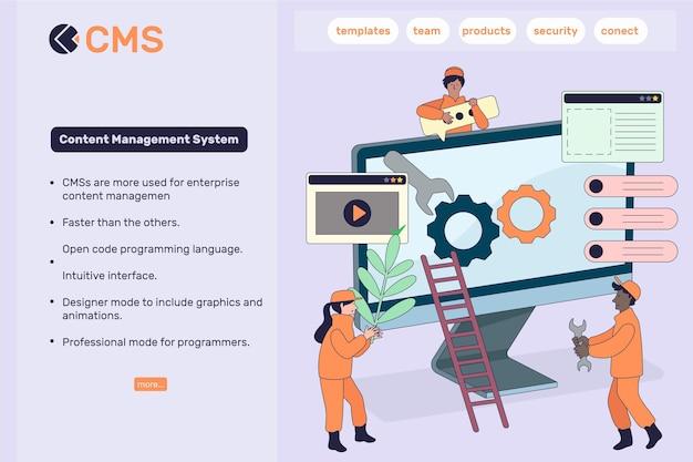 Płaska Konstrukcja Szablonu Sieci Web Koncepcji Cms Darmowych Wektorów