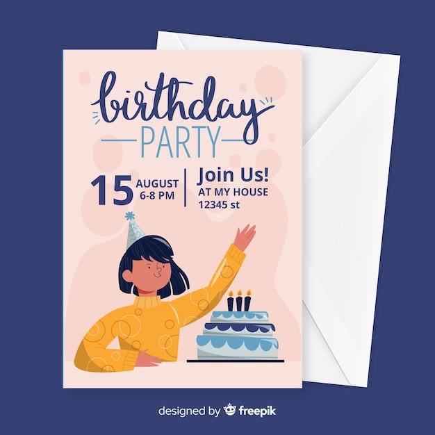 Płaska konstrukcja szablonu zaproszenia urodzinowe Darmowych Wektorów