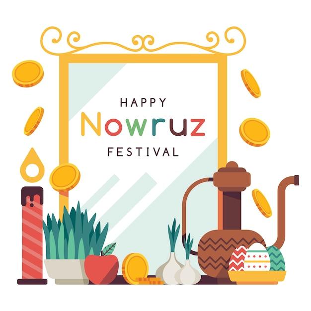 Płaska Konstrukcja Szczęśliwy Nowruz Design Darmowych Wektorów