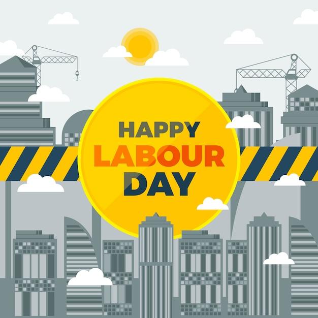 Płaska Konstrukcja Tematu Dzień Pracy Darmowych Wektorów