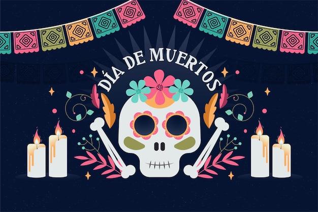 Płaska Konstrukcja Tła Día De Muertos Premium Wektorów