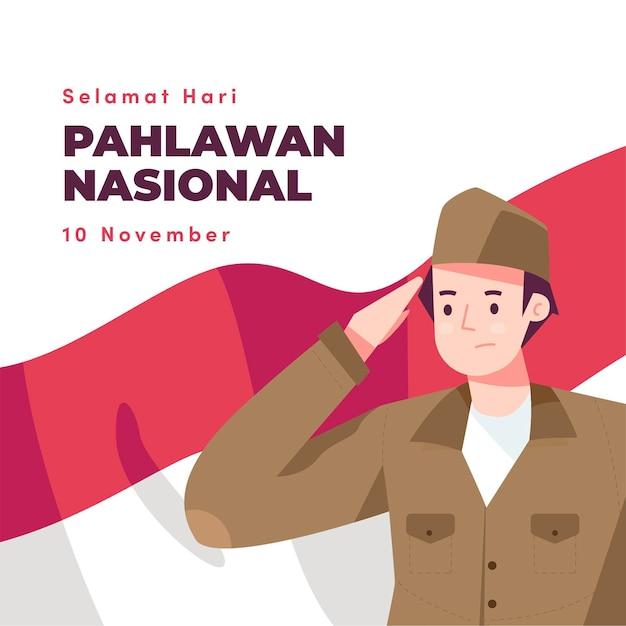 Płaska Konstrukcja Tła Dnia Bohaterów Pahlawan Z Człowiekiem Premium Wektorów