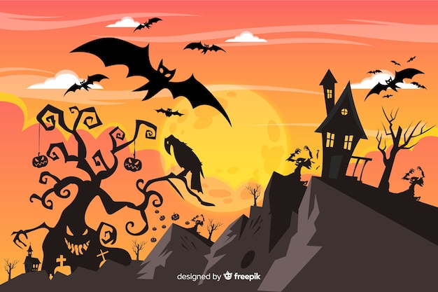 Płaska konstrukcja tła halloween Darmowych Wektorów