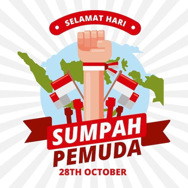 Płaska Konstrukcja Tła Sumpah Pemuda Darmowych Wektorów