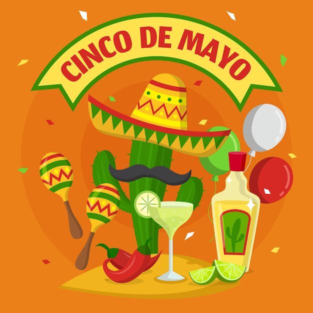 Płaska Konstrukcja Tło Cinco De Mayo Darmowych Wektorów