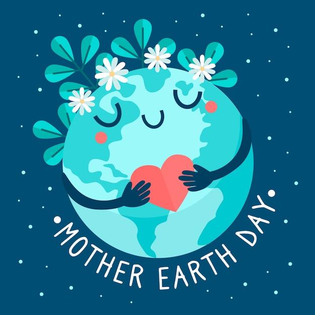 Płaska Konstrukcja Tło Dzień Matki Ziemi Darmowych Wektorów