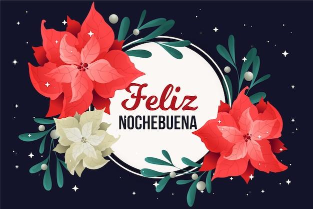 Płaska Konstrukcja Tło Feliz Nochebuena Z Kwiatami Darmowych Wektorów