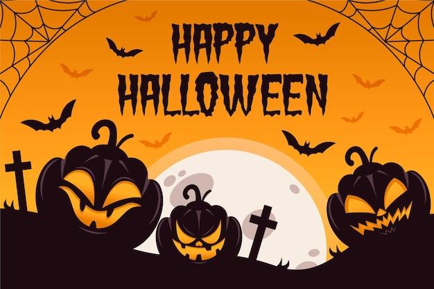 Płaska Konstrukcja Tło Halloween Premium Wektorów