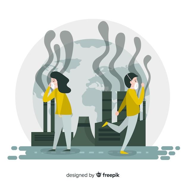 Płaska Konstrukcja Tło Koncepcji Zanieczyszczenia Darmowych Wektorów