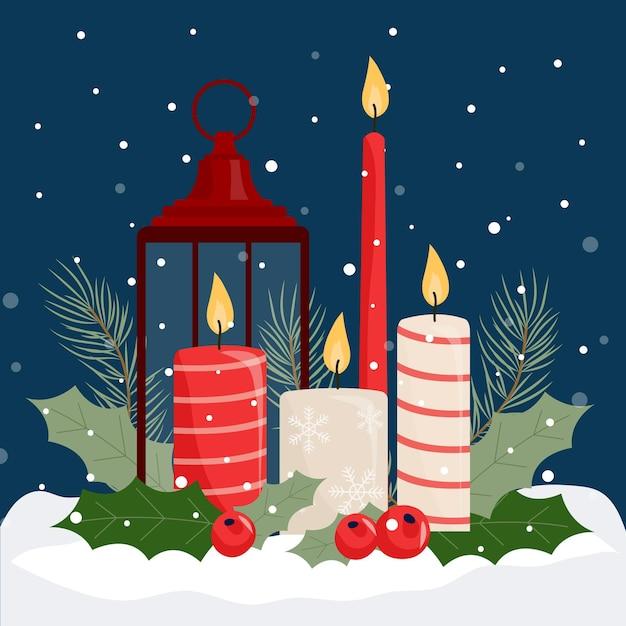 Płaska Konstrukcja Tło świeca Bożego Narodzenia Darmowych Wektorów