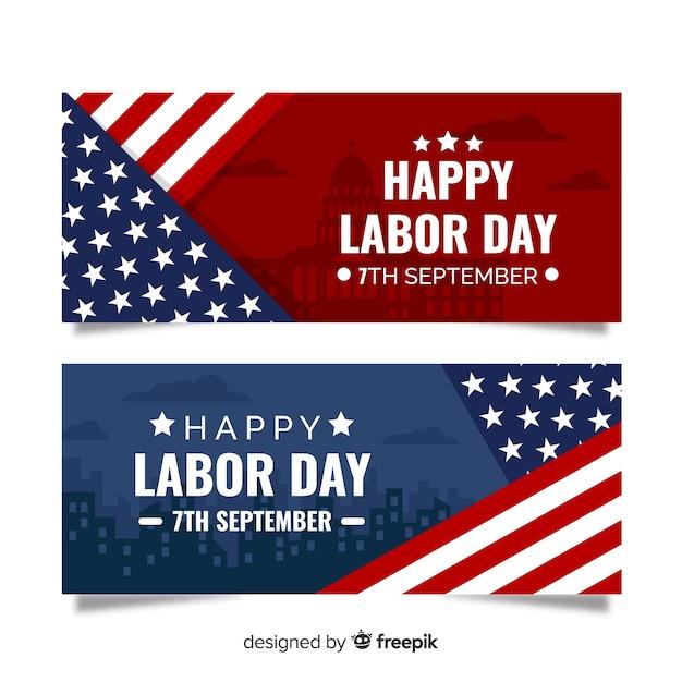 Płaska Konstrukcja Transparent Dzień Pracy Darmowych Wektorów