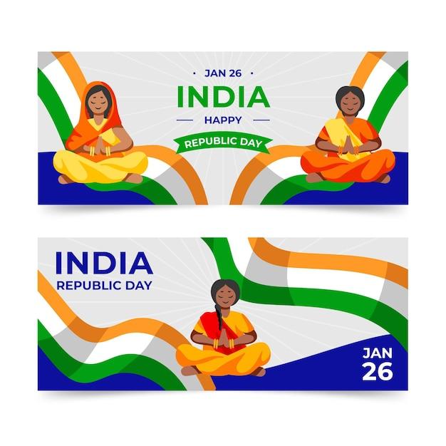 Płaska Konstrukcja Transparent Dzień Republiki Indii Premium Wektorów