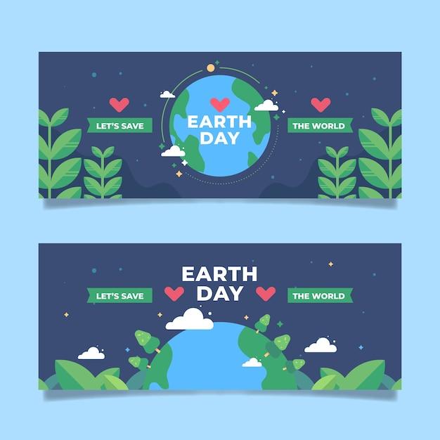 Płaska Konstrukcja Transparent Dzień Ziemi Darmowych Wektorów