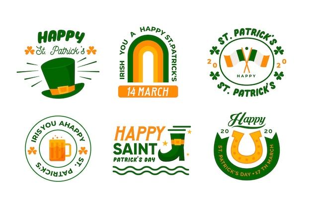 Płaska Konstrukcja Ul. Kolekcja Etykiet Patricks Day Darmowych Wektorów