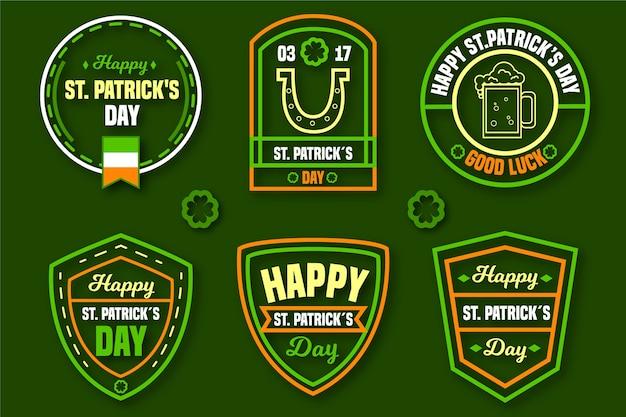 Płaska Konstrukcja Ul. Koncepcja Kolekcji Etykiet Patricks Day Darmowych Wektorów