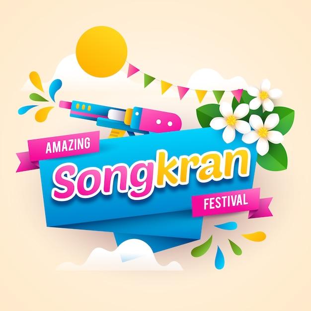 Płaska Konstrukcja Uroczystości Songkran Darmowych Wektorów