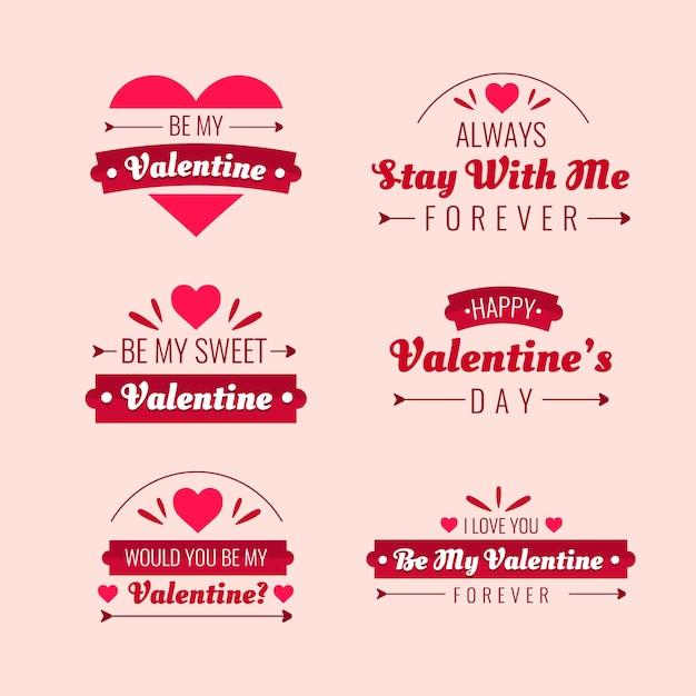 Płaska Konstrukcja Walentynki Pakiet Etykiet Darmowych Wektorów