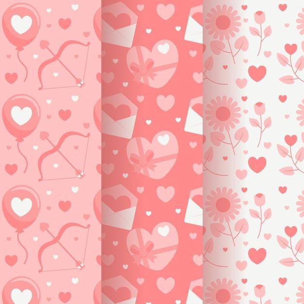 Płaska Konstrukcja Walentynki Wzór Kolekcji Motywu Darmowych Wektorów