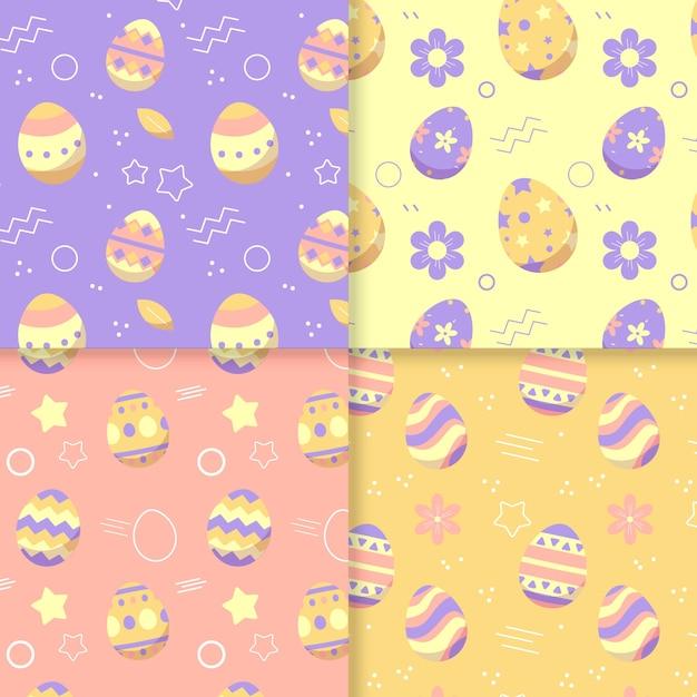 Płaska Konstrukcja Wielkanocny Wzór Kolekcji Darmowych Wektorów