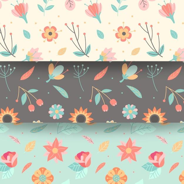 Płaska Konstrukcja Wiosna Wzór Z Kwiatów Kwitnąć Darmowych Wektorów