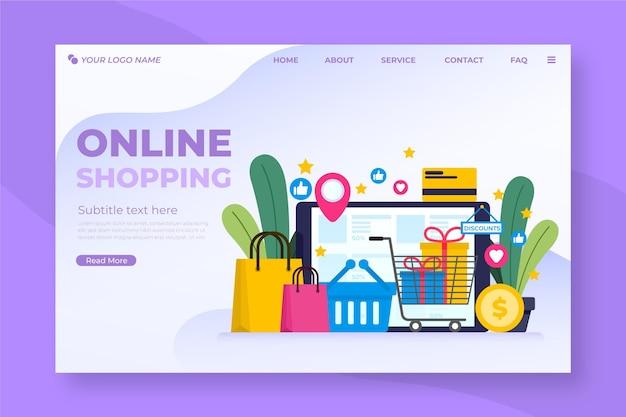 Płaska Konstrukcja Zakupy Strona Docelowa Online Darmowych Wektorów