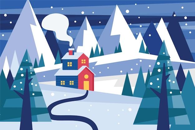 Płaska Konstrukcja Zimowego Krajobrazu Darmowych Wektorów