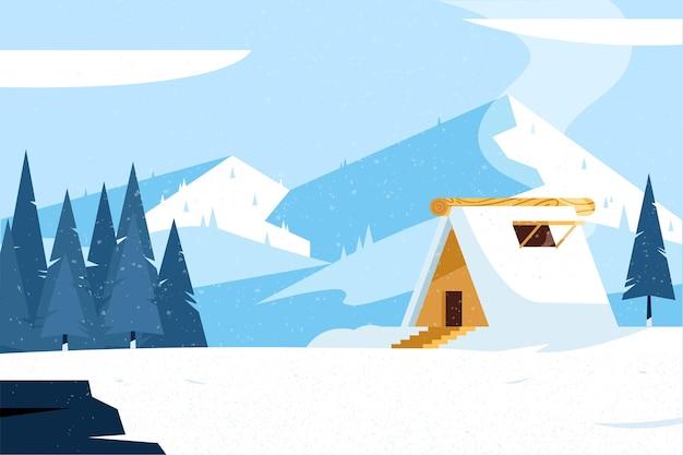 Płaska Konstrukcja Zimowy Krajobraz Z Domem Premium Wektorów
