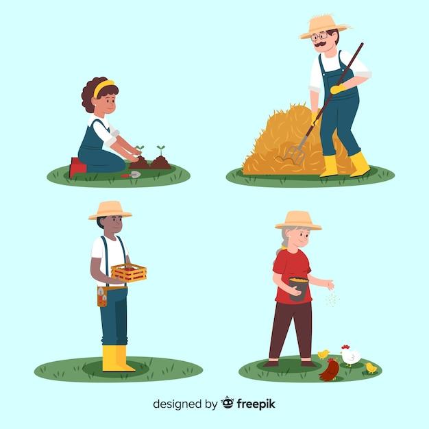 Płaska Konstrukcja Znaków Pracowników Rolnych W Przyrodzie Darmowych Wektorów