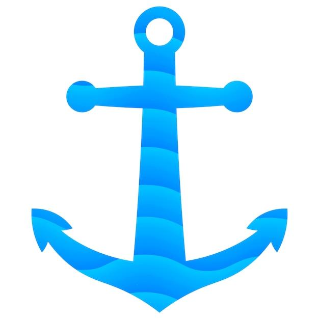 Płaska Kotwica Z Fal Morskich Gradient Tekstury. Premium Wektorów