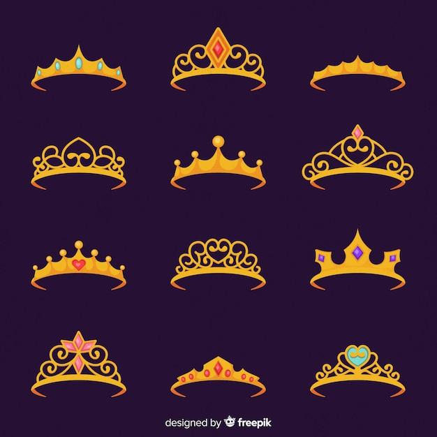 Płaska Księżniczka Tiara Collectio Darmowych Wektorów