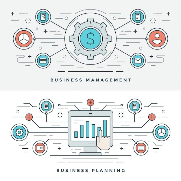 Płaska Linia Business Management And Planning Premium Wektorów