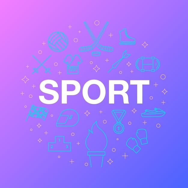 Płaska linia ikon sportu. Premium Wektorów