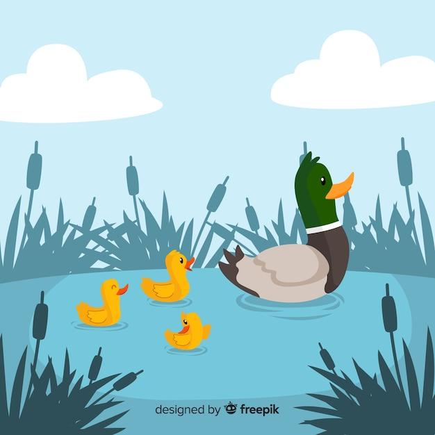 Płaska macierzysta kaczka i kaczątka w stawie Darmowych Wektorów