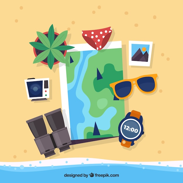Płaska Mapa Z Elementami Letnich Podróży Darmowych Wektorów