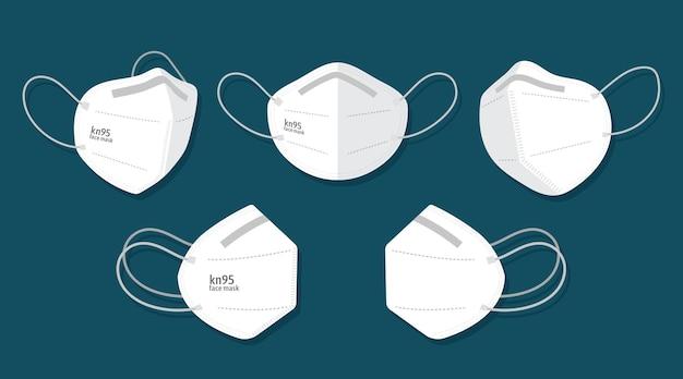 Płaska Maska Na Twarz Kn95 W Różnych Perspektywach Premium Wektorów